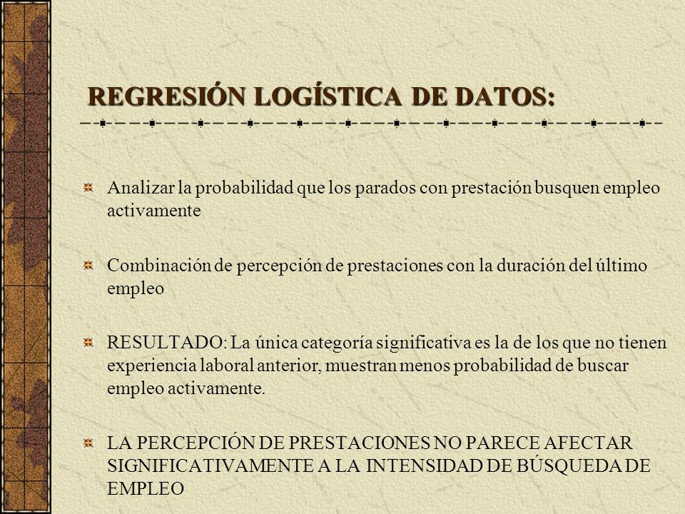 REGRESIÓN LOGÍSTICA DE DATOS: