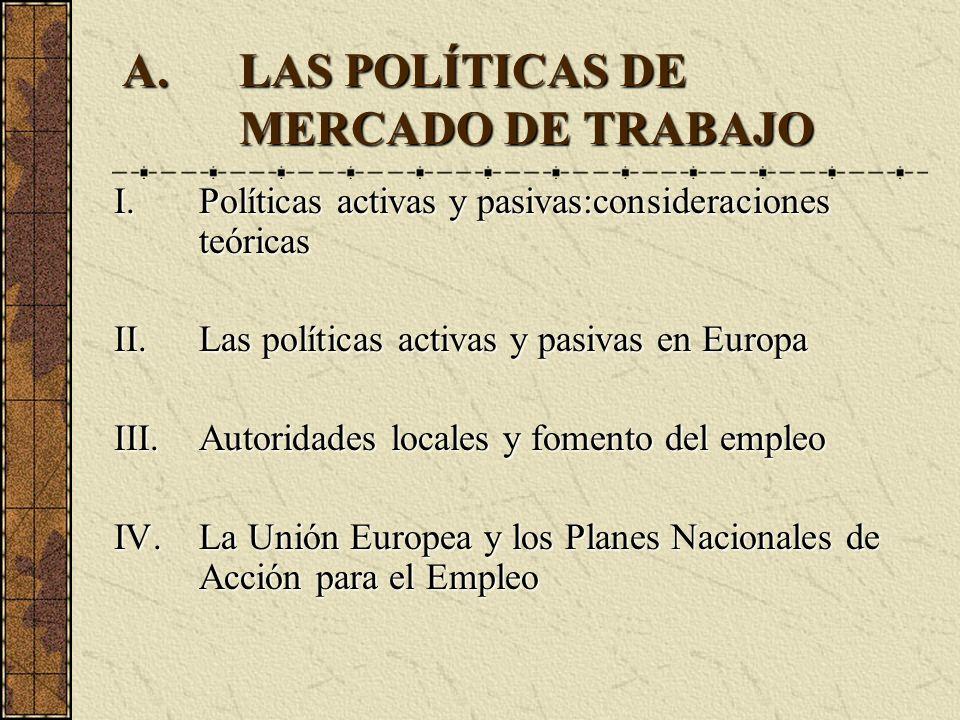 LAS POLÍTICAS DE MERCADO DE TRABAJO