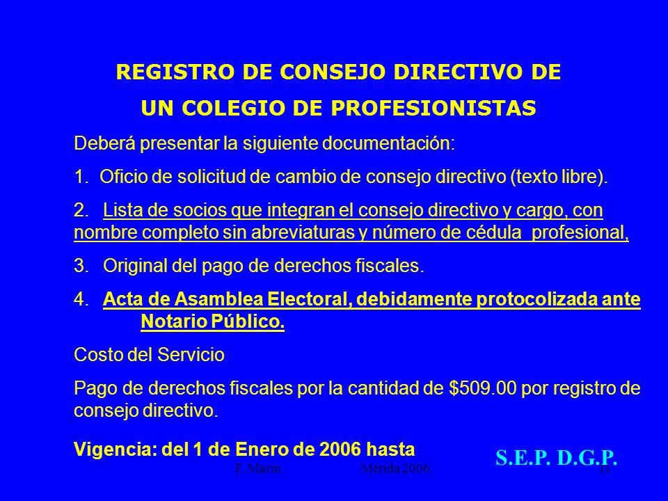 S.E.P. D.G.P. REGISTRO DE CONSEJO DIRECTIVO DE