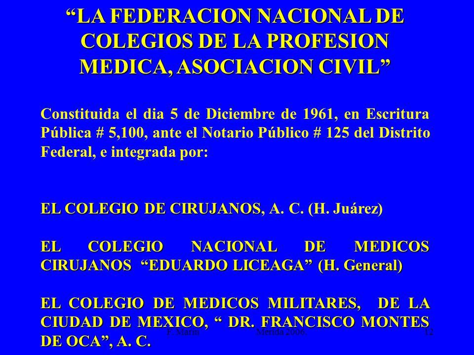 LA FEDERACION NACIONAL DE COLEGIOS DE LA PROFESION MEDICA, ASOCIACION CIVIL