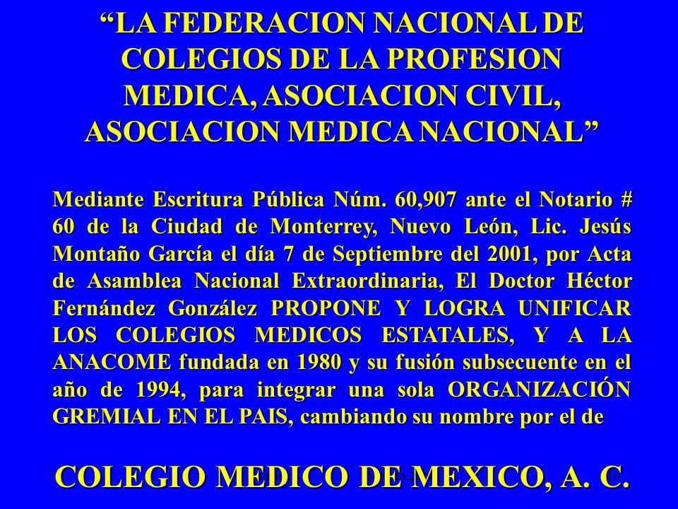 ASOCIACION MEDICA NACIONAL COLEGIO MEDICO DE MEXICO, A. C.