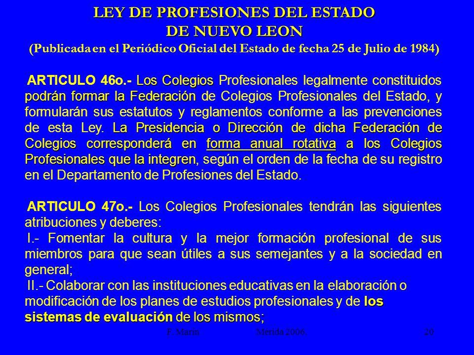 LEY DE PROFESIONES DEL ESTADO