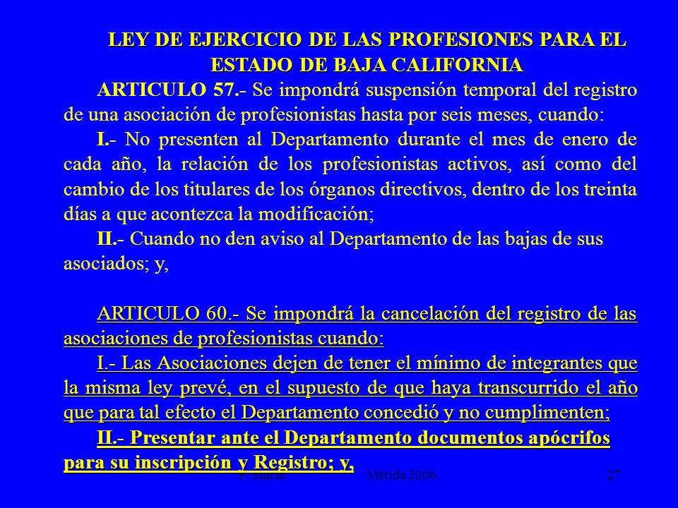LEY DE EJERCICIO DE LAS PROFESIONES PARA EL ESTADO DE BAJA CALIFORNIA