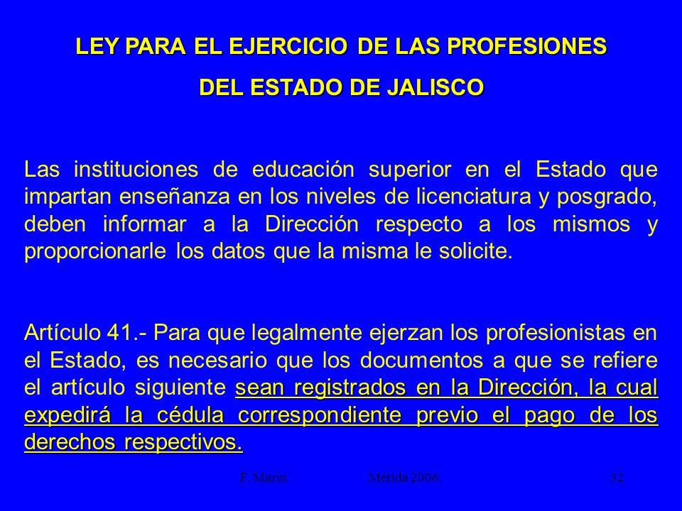 LEY PARA EL EJERCICIO DE LAS PROFESIONES