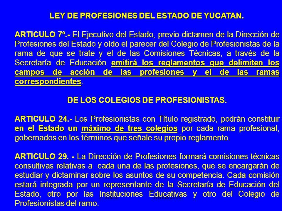 DE LOS COLEGIOS DE PROFESIONISTAS.