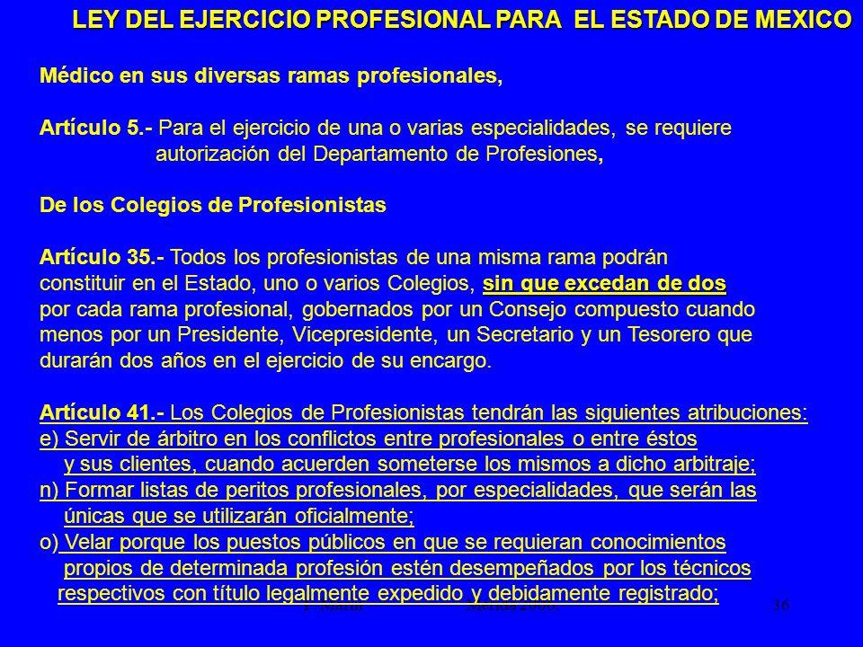 LEY DEL EJERCICIO PROFESIONAL PARA EL ESTADO DE MEXICO