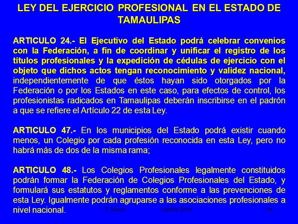 LEY DEL EJERCICIO PROFESIONAL EN EL ESTADO DE TAMAULIPAS