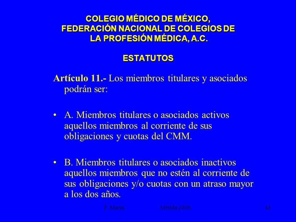 Artículo 11.- Los miembros titulares y asociados podrán ser: