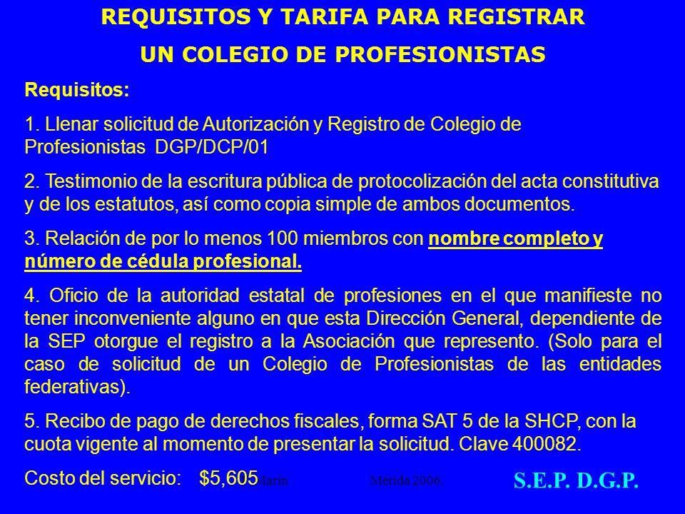 REQUISITOS Y TARIFA PARA REGISTRAR