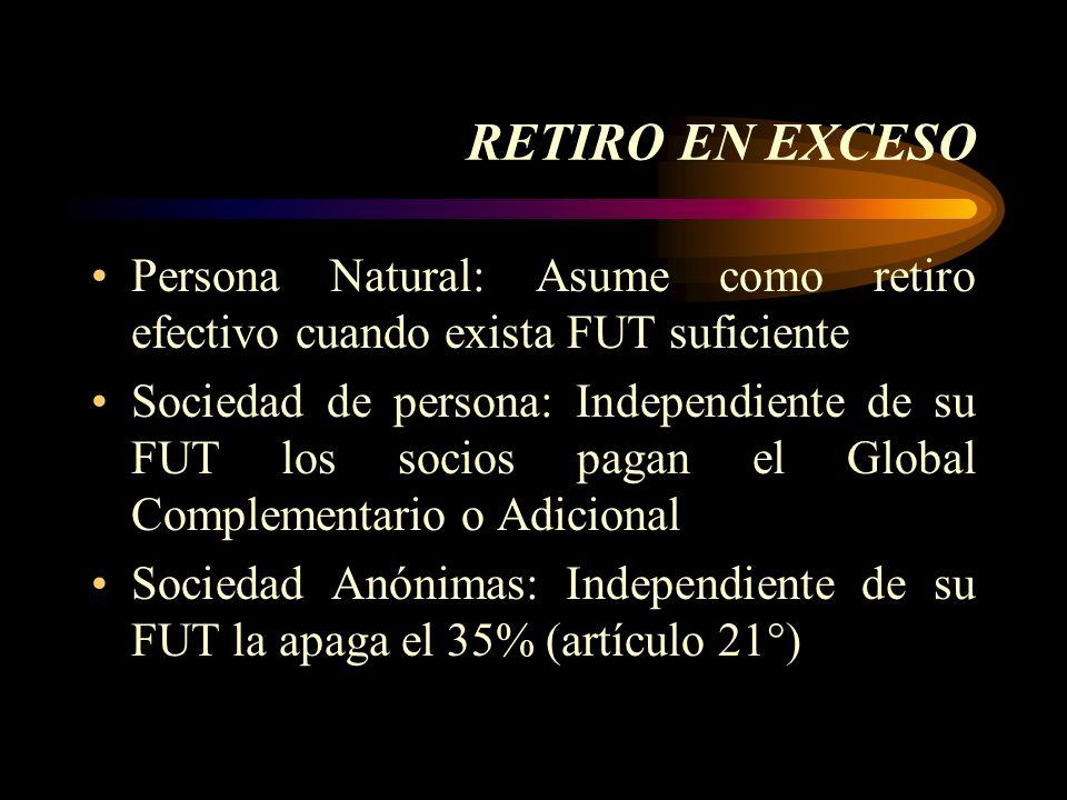 RETIRO EN EXCESO Persona Natural: Asume como retiro efectivo cuando exista FUT suficiente.