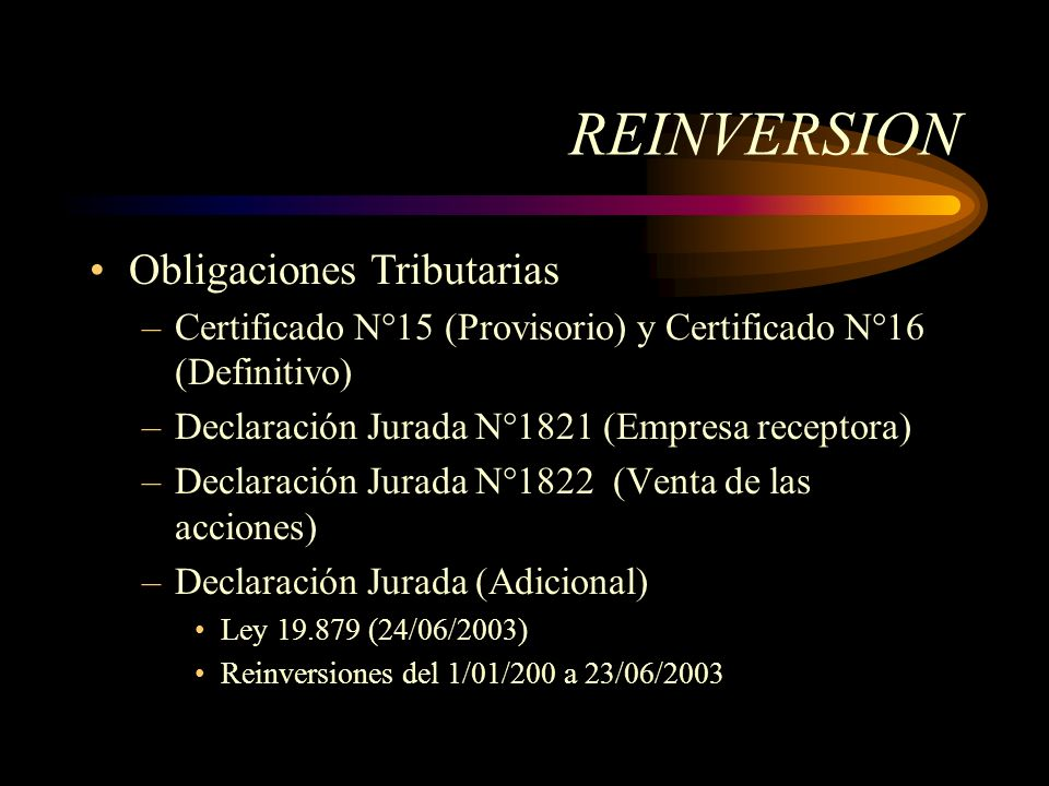 REINVERSION Obligaciones Tributarias