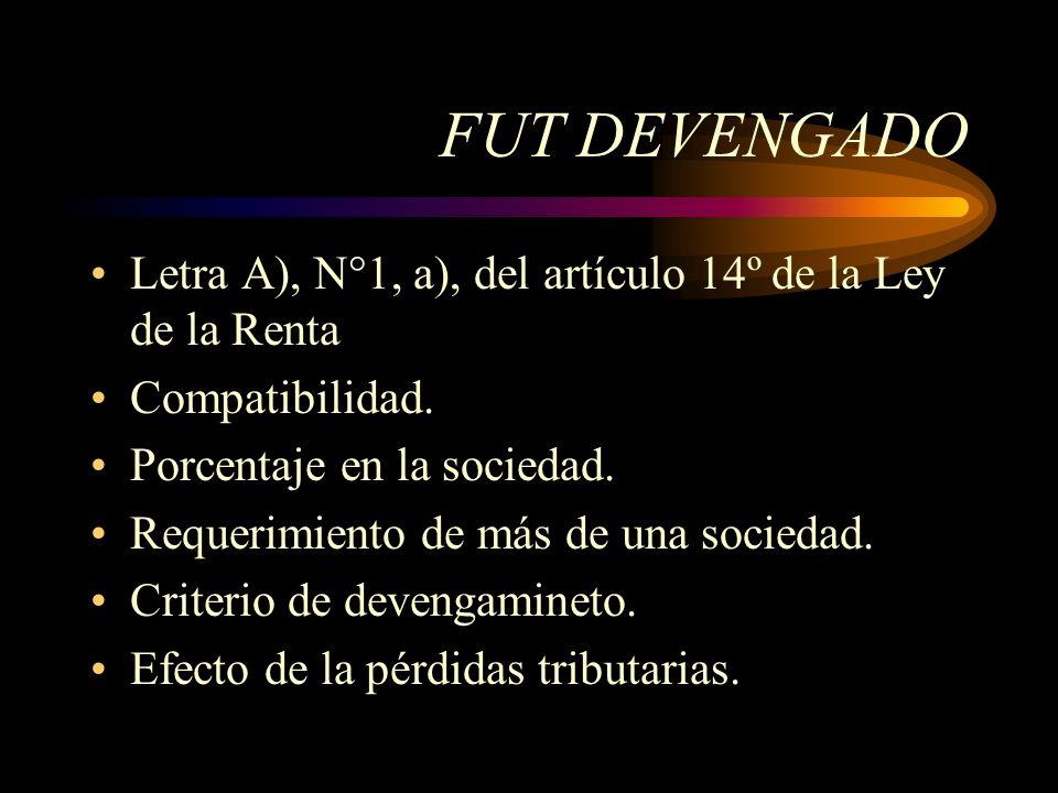 FUT DEVENGADO Letra A), N°1, a), del artículo 14º de la Ley de la Renta. Compatibilidad. Porcentaje en la sociedad.