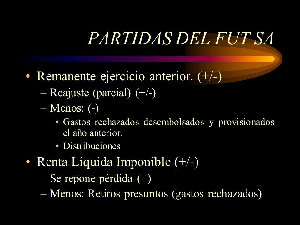 PARTIDAS DEL FUT SA Remanente ejercicio anterior. (+/-)