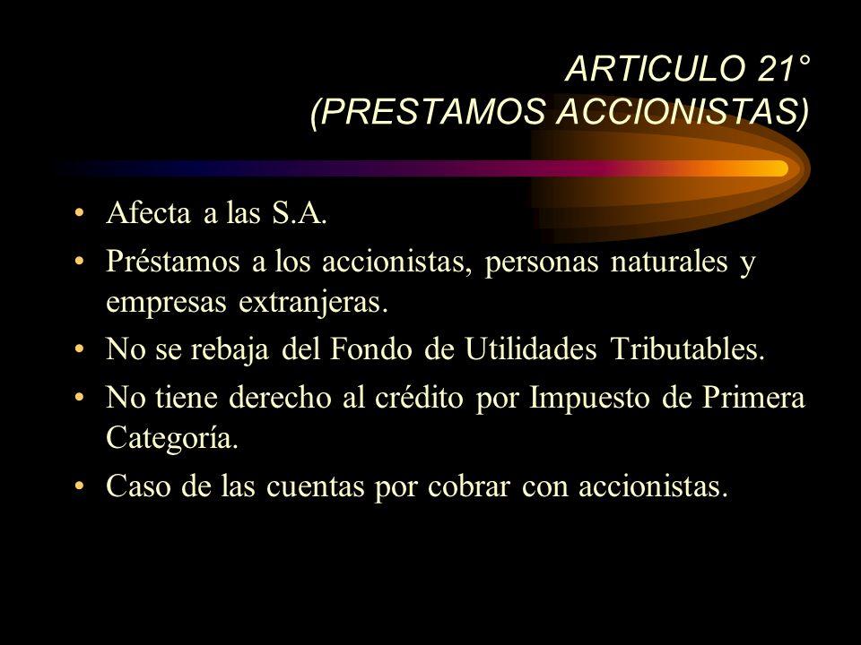 ARTICULO 21° (PRESTAMOS ACCIONISTAS)