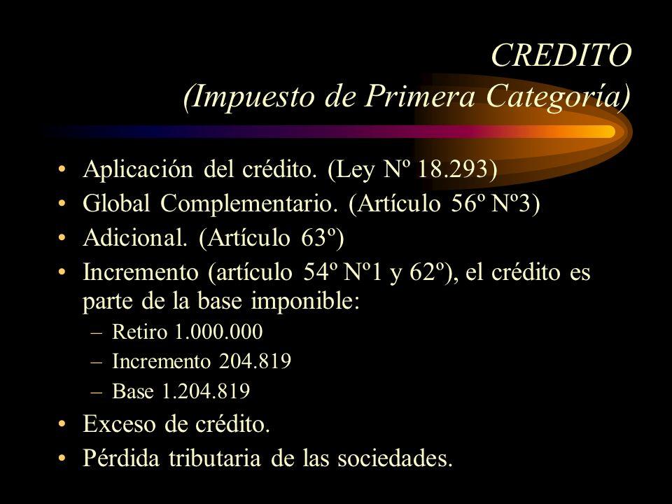CREDITO (Impuesto de Primera Categoría)