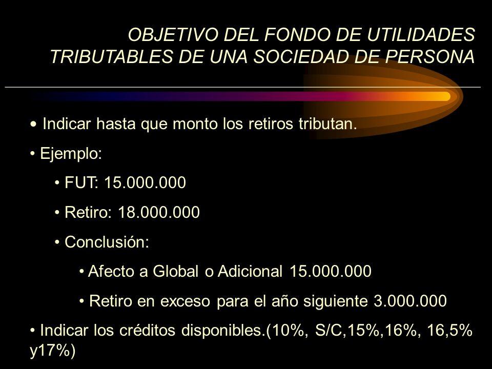 OBJETIVO DEL FONDO DE UTILIDADES TRIBUTABLES DE UNA SOCIEDAD DE PERSONA