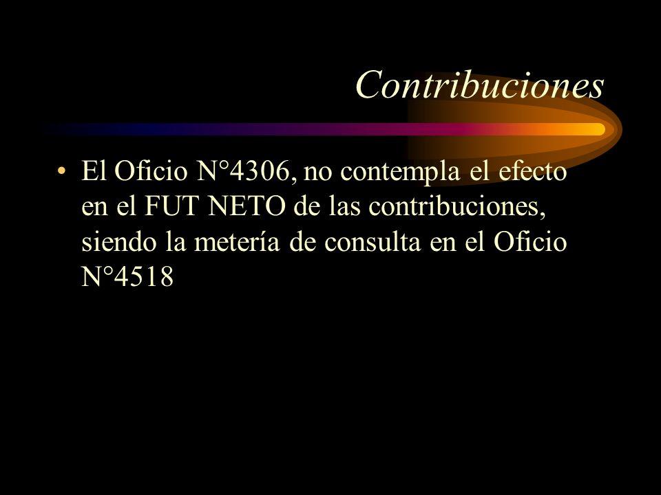 ContribucionesEl Oficio N°4306, no contempla el efecto en el FUT NETO de las contribuciones, siendo la metería de consulta en el Oficio N°4518.