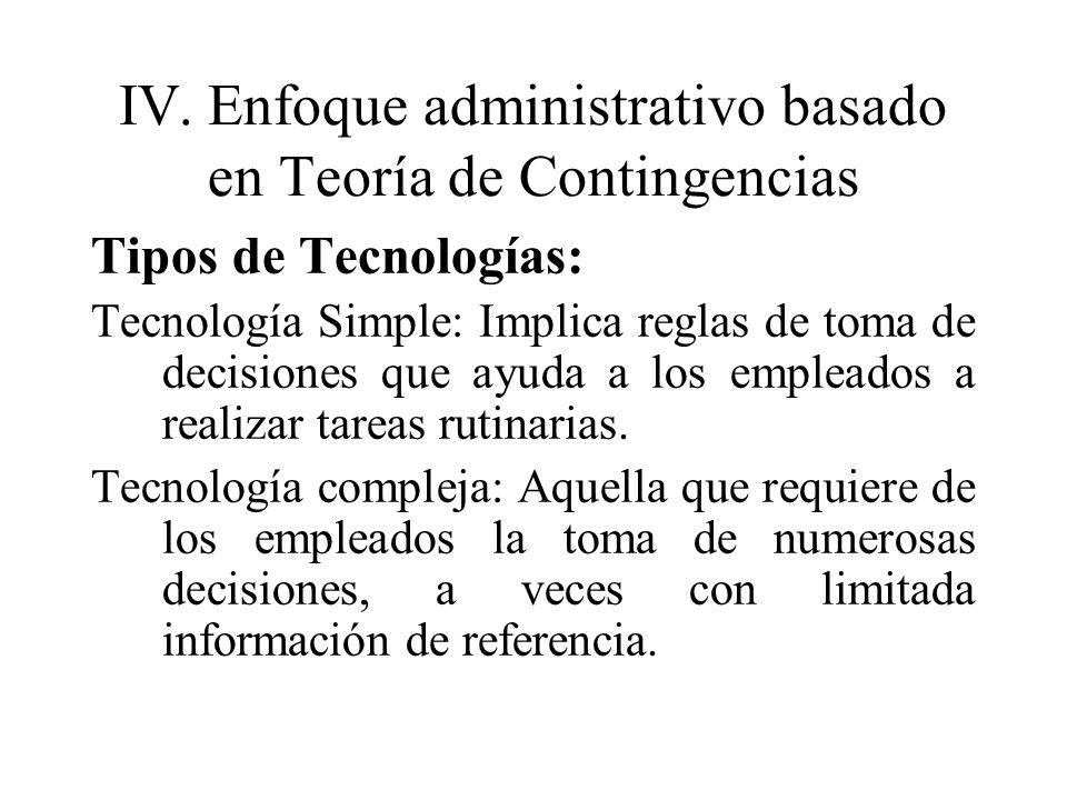 IV. Enfoque administrativo basado en Teoría de Contingencias
