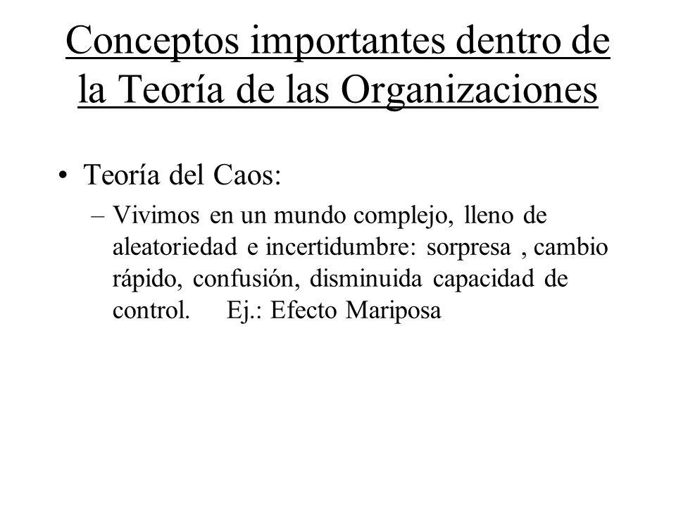 Conceptos importantes dentro de la Teoría de las Organizaciones