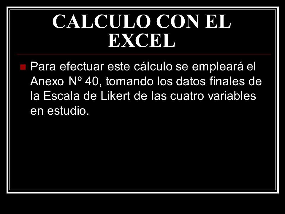 CALCULO CON EL EXCEL