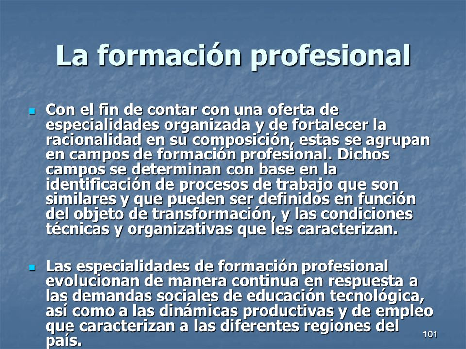 La formación profesional