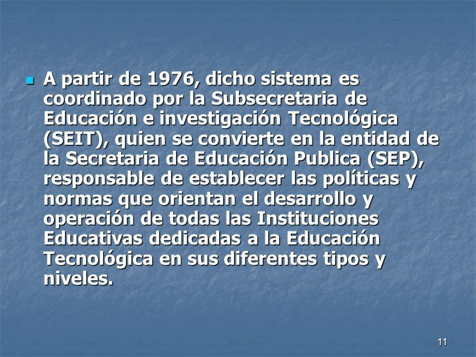 A partir de 1976, dicho sistema es coordinado por la Subsecretaria de Educación e investigación Tecnológica (SEIT), quien se convierte en la entidad de la Secretaria de Educación Publica (SEP), responsable de establecer las políticas y normas que orientan el desarrollo y operación de todas las Instituciones Educativas dedicadas a la Educación Tecnológica en sus diferentes tipos y niveles.