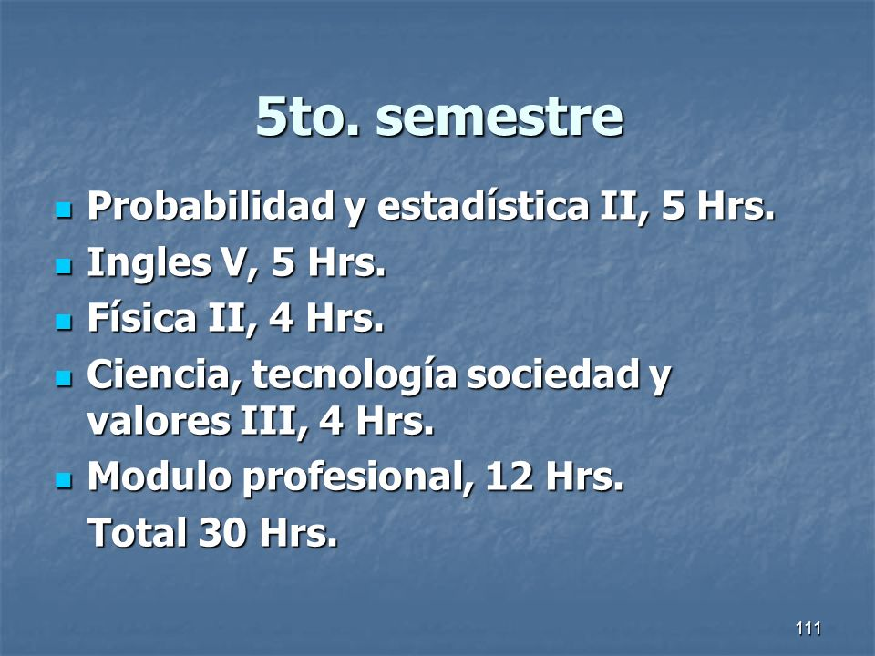 5to. semestre Probabilidad y estadística II, 5 Hrs. Ingles V, 5 Hrs.