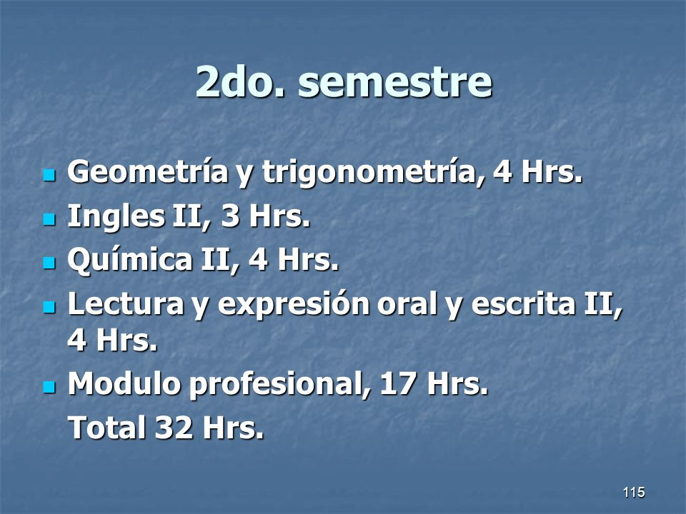 2do. semestre Geometría y trigonometría, 4 Hrs. Ingles II, 3 Hrs.