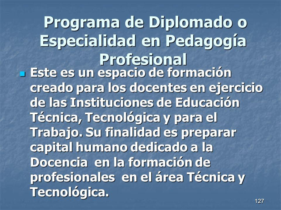 Programa de Diplomado o Especialidad en Pedagogía Profesional