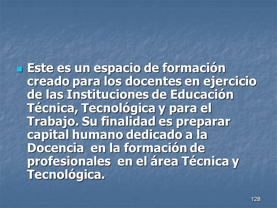 Este es un espacio de formación creado para los docentes en ejercicio de las Instituciones de Educación Técnica, Tecnológica y para el Trabajo.