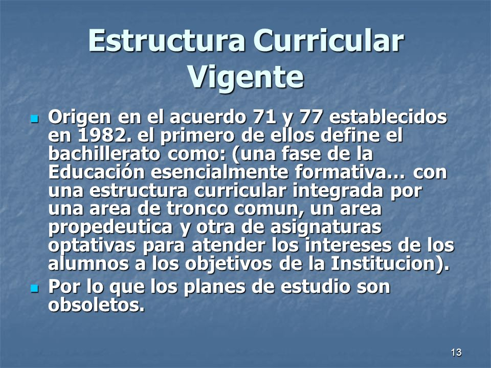 Estructura Curricular Vigente