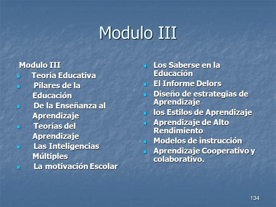 Modulo III Modulo III Teoría Educativa Pilares de la Educación