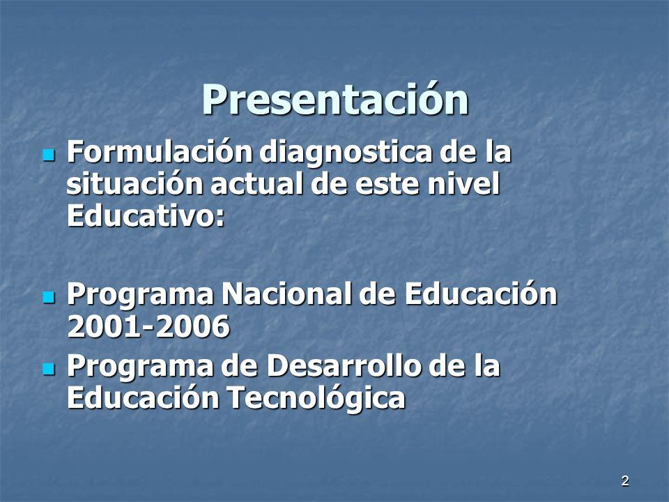 Presentación Formulación diagnostica de la situación actual de este nivel Educativo: Programa Nacional de Educación 2001-2006.