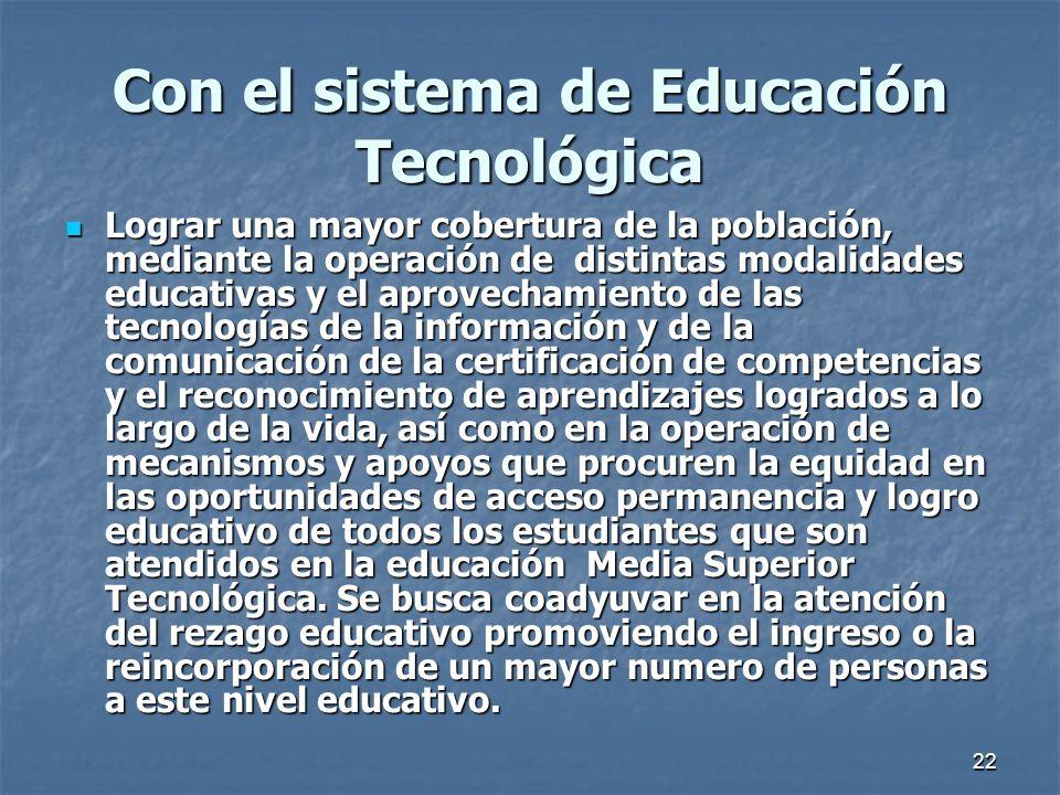 Con el sistema de Educación Tecnológica