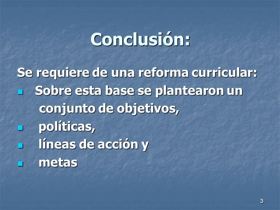Conclusión: Se requiere de una reforma curricular: