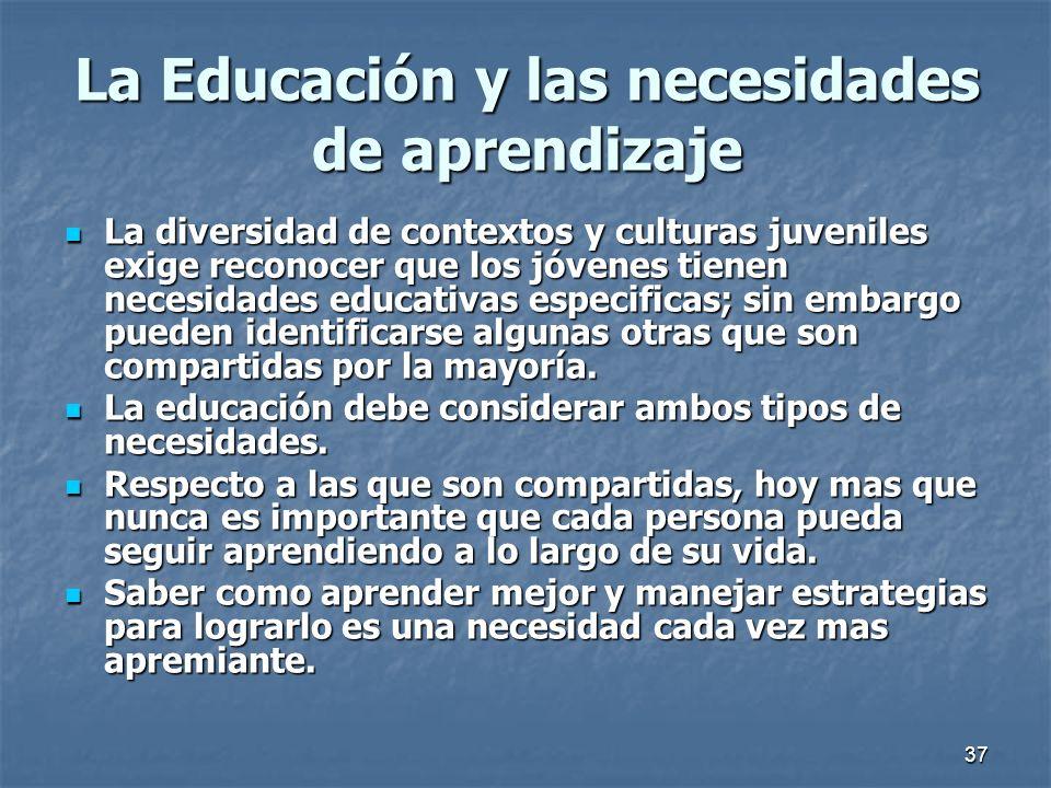 La Educación y las necesidades de aprendizaje
