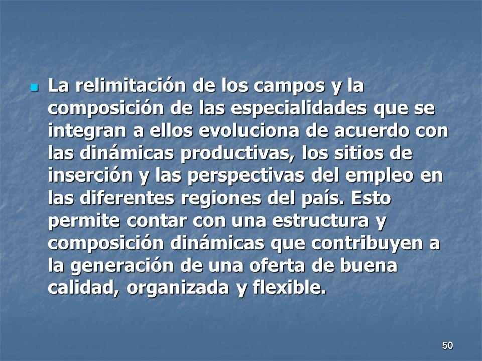 La relimitación de los campos y la composición de las especialidades que se integran a ellos evoluciona de acuerdo con las dinámicas productivas, los sitios de inserción y las perspectivas del empleo en las diferentes regiones del país.