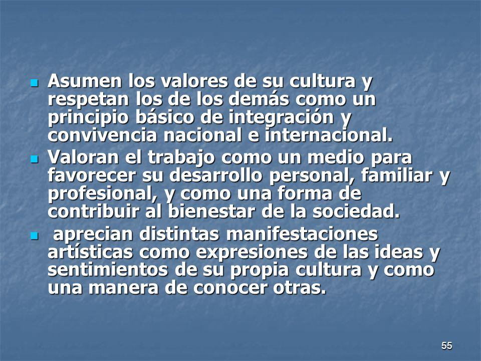 Asumen los valores de su cultura y respetan los de los demás como un principio básico de integración y convivencia nacional e internacional.