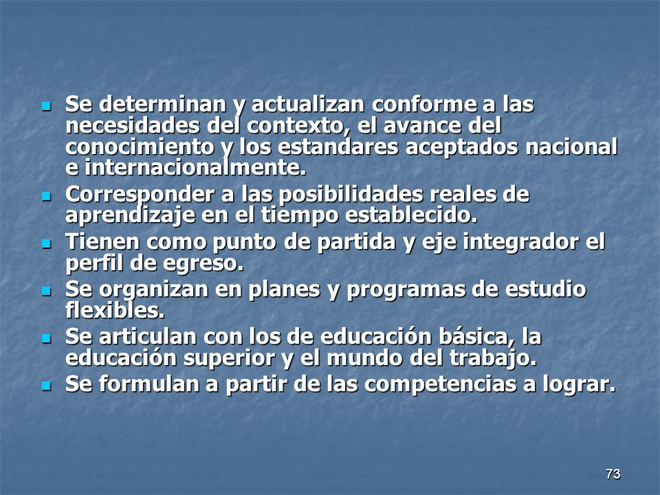 Se determinan y actualizan conforme a las necesidades del contexto, el avance del conocimiento y los estandares aceptados nacional e internacionalmente.