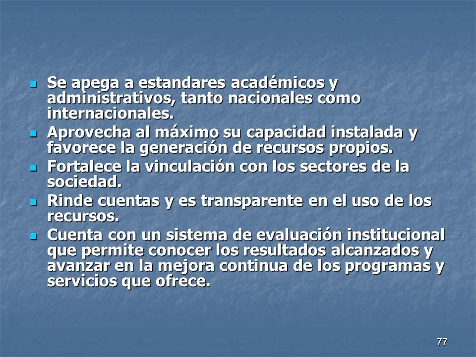 Se apega a estandares académicos y administrativos, tanto nacionales como internacionales.