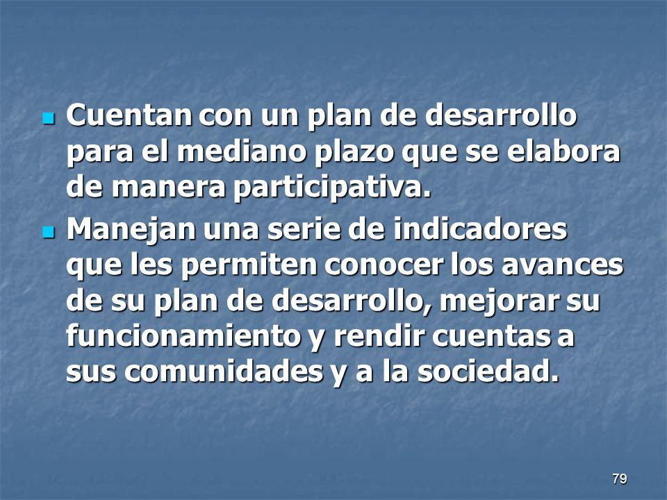 Cuentan con un plan de desarrollo para el mediano plazo que se elabora de manera participativa.