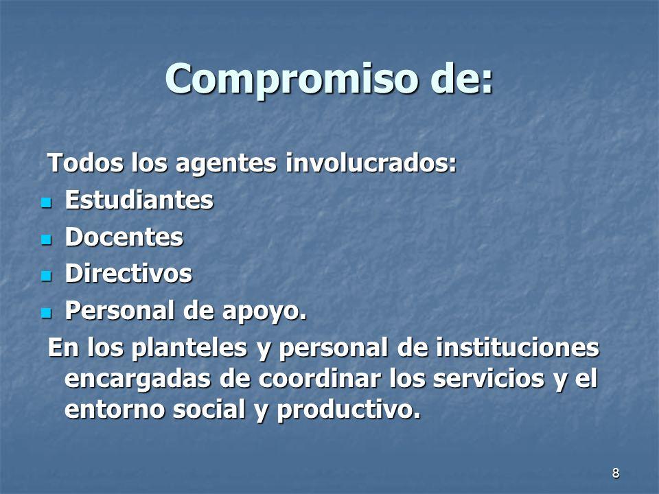 Compromiso de: Todos los agentes involucrados: Estudiantes Docentes