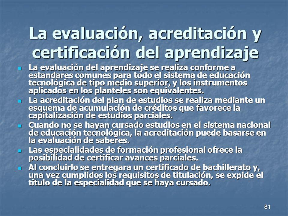 La evaluación, acreditación y certificación del aprendizaje