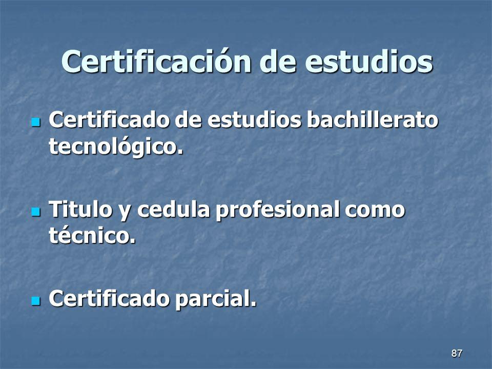 Certificación de estudios