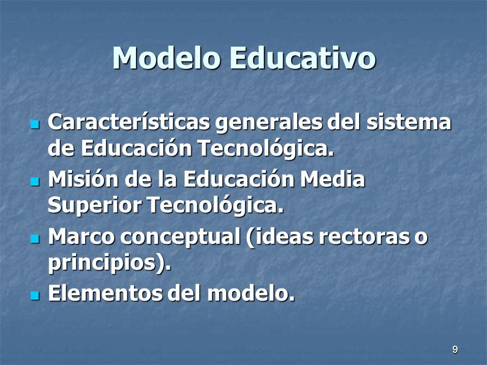 Modelo Educativo Características generales del sistema de Educación Tecnológica. Misión de la Educación Media Superior Tecnológica.