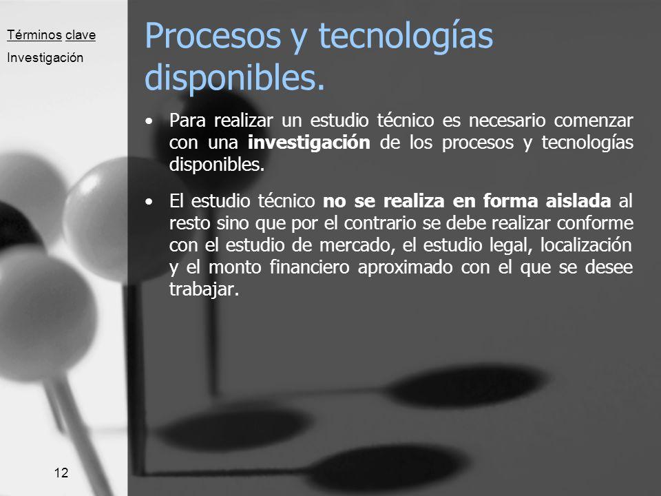Procesos y tecnologías disponibles.