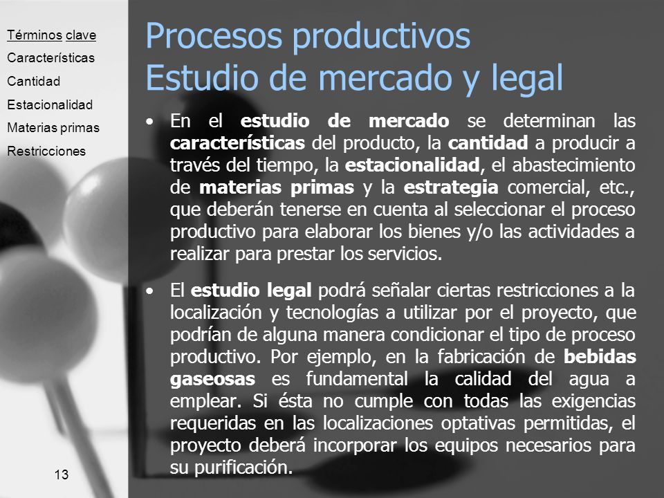 Procesos productivos Estudio de mercado y legal