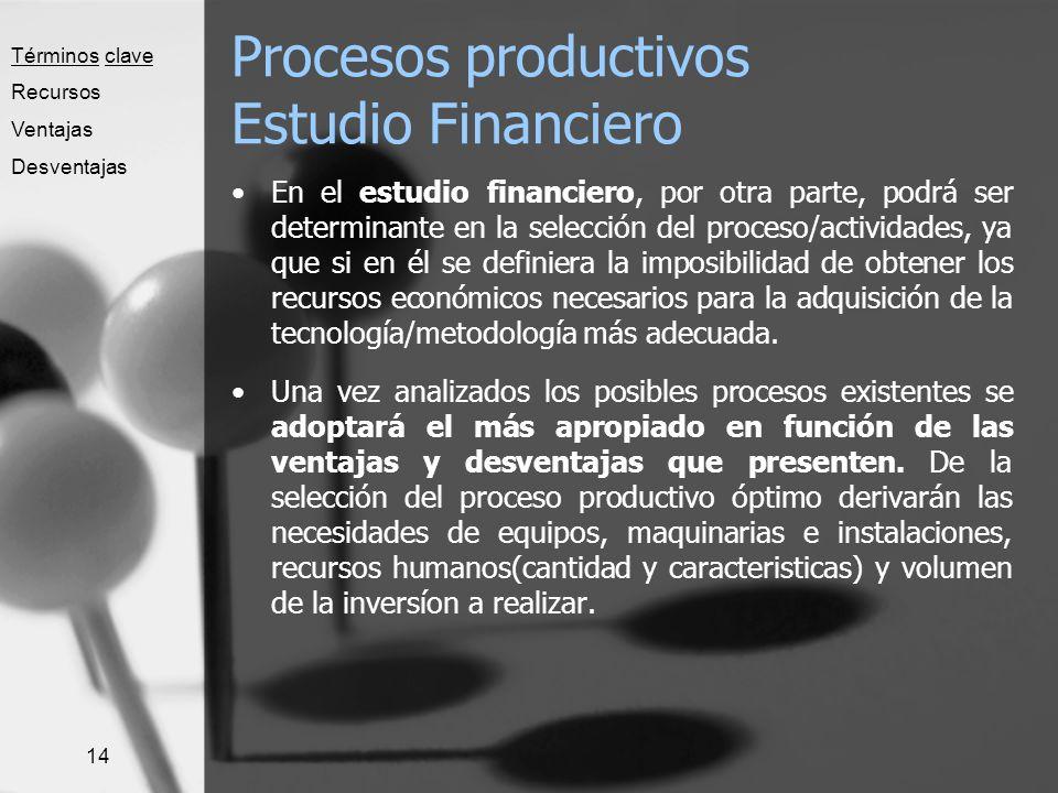 Procesos productivos Estudio Financiero