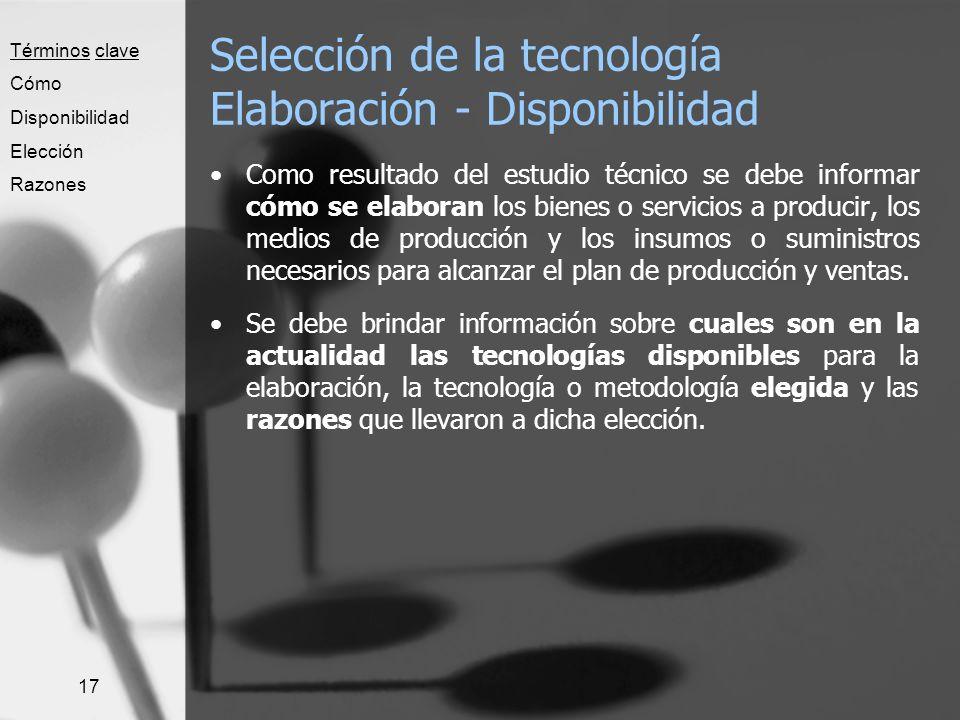 Selección de la tecnología Elaboración - Disponibilidad