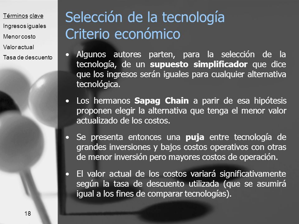 Selección de la tecnología Criterio económico